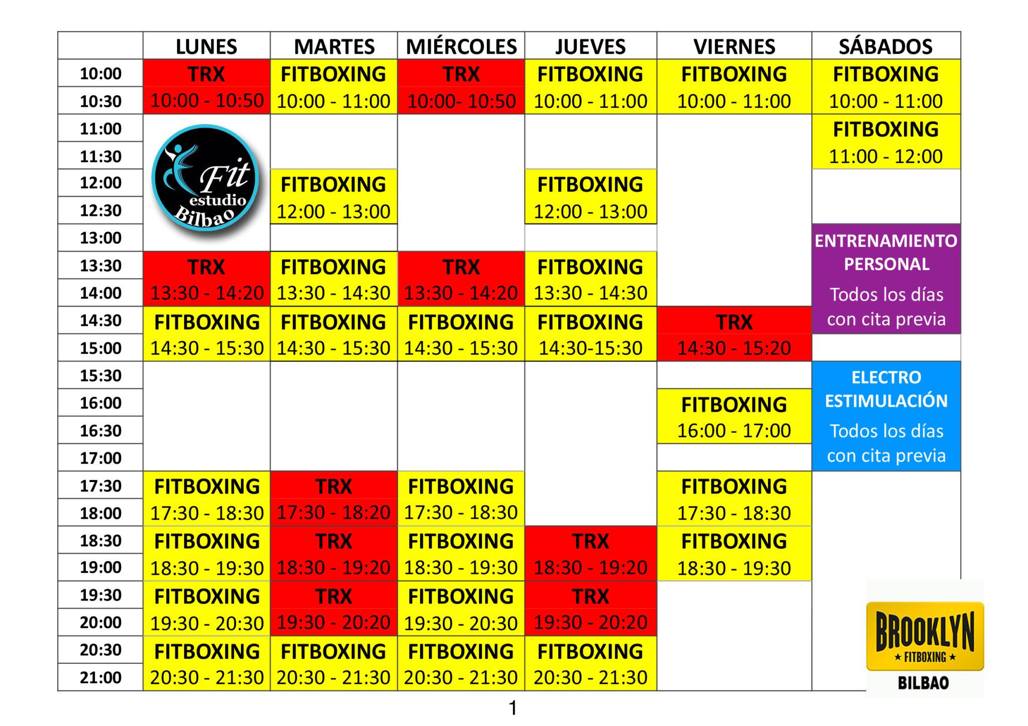 Nuevos Horarios - Efit Bilbao - Verano 2017