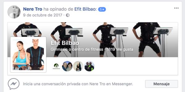 Opinión cliente Efit Bilbao